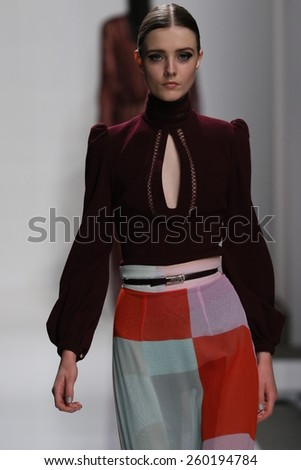 NEW YORK, NY - FEBRUARY 13: A model walks the runway at Zimmermann fashion show during Mercedes-Benz Fashion Week Fall 2015 at ArtBeam on February 13, 2015 in NYC.