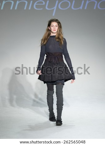 New York, NY - February 28, 2015: A model walks the runway for collection by Bonnie Young during petitePARADE / Kids Fashion Week at Bathhouse Studios