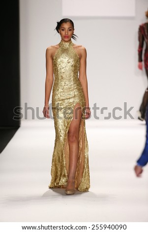 NEW YORK, NY - FEBRUARY 19: A model walks the runway in a MT Costello design at the Art Hearts Fashion show during MBFW Fall 2015 at Lincoln Center on February 19, 2015 in NYC.