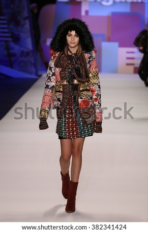 NEW YORK, NY - FEBRUARY 11: A model walks the runway wearing Desigual Fall 2016 on February 11, 2016 in New York City.