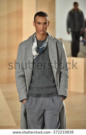 NEW YORK, NY - FEBRUARY 03: A model walks the runway wearing Perry Ellis during New York Fashion Week Men's Fall/Winter 2016 on February 3, 2016 in NYC. - stock photo