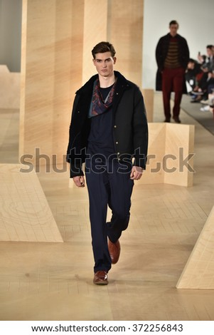NEW YORK, NY - FEBRUARY 03: A model walks the runway wearing Perry Ellis during New York Fashion Week Men's Fall/Winter 2016 on February 3, 2016 in NYC.