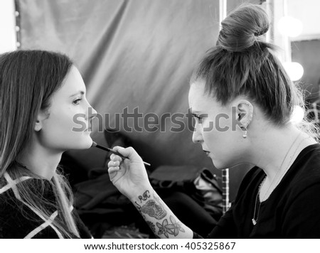 New York, NY - February 14, 2016: Adela Novotna prepares backstage for the Custo Barcelona Fall 2016 fashion show during New York Fashion Week