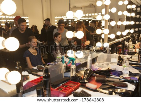 NEW YORK, NY - FEBRUARY 11, 2014: Atmosphere backstage for Australian Fashion Pallette presentation at Fall/Winter 2014 Fashion week at Pier 59 - stock photo