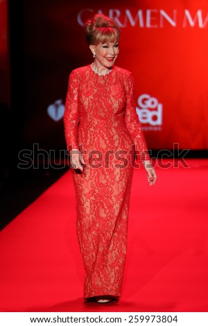 NEW YORK, NY - FEBRUARY 12: Barbara Eden walks the runway at the Go Red For Women Red Dress Collection 2015 fashion show during MBFW Fall 2015 at Lincoln Center on February 12, 2015 in NYC