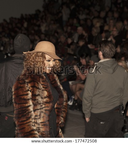 NEW YORK, NY - FEBRUARY 12, 2014: Cynthia Bailey attends runway for Paris of the Orient presentation by Zang Toi at Fall/Winter 2014 Fashion week in Lincoln Center - stock photo