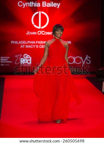 New York, NY - February 12, 2015: Cynthia Bailey in Jovan O'Connor dress walks runway for the Heart Truth Red Dress Collection 2015 fashion show as part of Fall 2015 Mercedez-Benz Fashion Week - stock photo