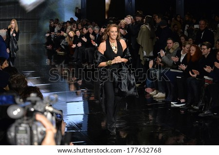 NEW YORK, NY - FEBRUARY 10: Designer Donna Karan walks the runway at Donna Karan New York 30th Anniversary during Mercedes-Benz Fashion Week Fall 2014 on February 10, 2014 in New York City.  - stock photo