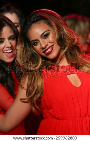 NEW YORK, NY - FEBRUARY 12: Dinah Jane Hansen of Fifth Harmony walks the runway at the Go Red For Women Red Dress Collection 2015 during MBFW Fall 2015 at Lincoln Center on February 12, 2015 in NYC
