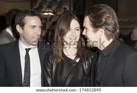 NEW YORK, NY - FEBRUARY 01, 2014: Emily Mortimer, Alessandro Nivola and Ethan Hawke attend the 66th Annual Writers Guild Awards East Coast Ceremony at Edison ballroom