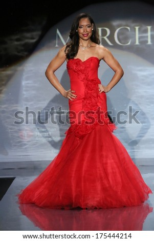 NEW YORK, NY - FEBRUARY 06: Gina Torres walks the runway wearing Marchesa at Go Red For Women - The Heart Truth Red Dress Collection 2014 Show on February 6, 2014 in New York City. - stock photo