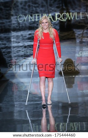 NEW YORK, NY - FEBRUARY 06: Lindsey Vonn walks the runway wearing Cynthia Rowley at Go Red For Women - The Heart Truth Red Dress Collection 2014 Show on February 6, 2014 in New York City. - stock photo