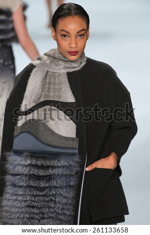 NEW YORK, NY - FEBRUARY 16: Model Aleah Morgan walks the runway wearing Carolina Herrera Fall 2015 Collection during MBFW at Lincoln Center on February 16, 2015 in NYC - stock photo