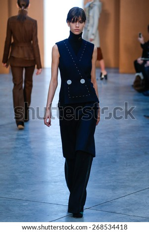 NEW YORK, NY - FEBRUARY 15: Model Antonina Petkovic walk the runway at the Derek Lam Fashion Show during MBFW Fall 2015 at Pace Gallery on February 15, 2015 in NYC