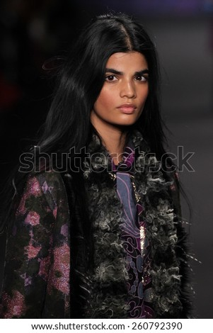 NEW YORK, NY - FEBRUARY 18: Model Bhumika Arora walks the runway at the Anna Sui fashion show during MBFW Fall 2015 at Lincoln Center on February 18, 2015 in NYC