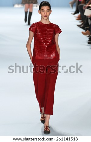 NEW YORK, NY - FEBRUARY 16: Model Ewa Wladymiruk walks the runway wearing Carolina Herrera Fall 2015 Collection during MBFW at Lincoln Center on February 16, 2015 in NYC - stock photo
