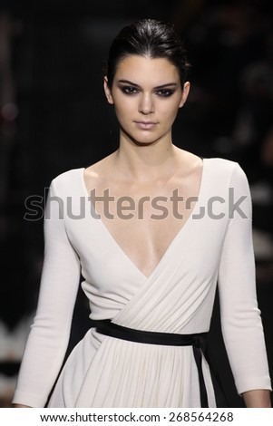NEW YORK, NY - FEBRUARY 15: Model Kendall Jenner walk the runway at the Diane Von Furstenberg fashion show during MBFW Fall 2015 at Spring Studios on February 15, 2015 in NYC  - stock photo