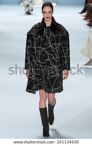 NEW YORK, NY - FEBRUARY 16: Model Sarah Brannon walks the runway wearing Carolina Herrera Fall 2015 Collection during MBFW at Lincoln Center on February 16, 2015 in NYC - stock photo
