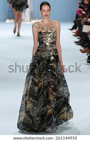 NEW YORK, NY - FEBRUARY 16: Model Thairine Garcia walks the runway wearing Carolina Herrera Fall 2015 Collection during MBFW at Lincoln Center on February 16, 2015 in NYC - stock photo