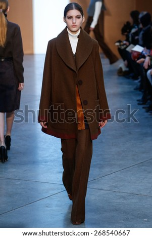 NEW YORK, NY - FEBRUARY 15: Model Valery Kaufman walk the runway at the Derek Lam Fashion Show during MBFW Fall 2015 at Pace Gallery on February 15, 2015 in NYC