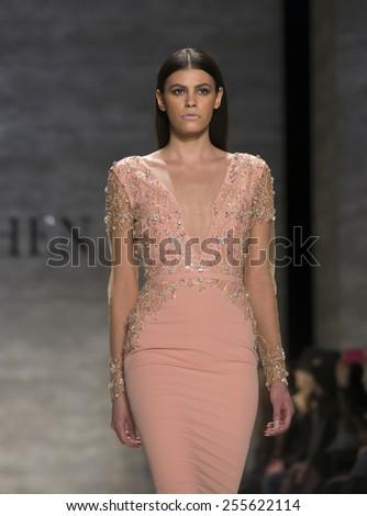 New York, NY - February 14, 2015: Model walks runway for Idan Cohen show at Fall 2015 Fashion Week at Lincoln Center - stock photo