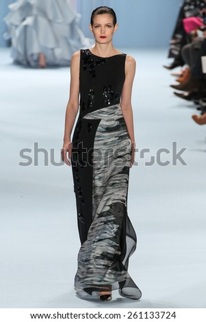 NEW YORK, NY - FEBRUARY 16: Model Zlata Mangafic walks the runway wearing Carolina Herrera Fall 2015 Collection during MBFW at Lincoln Center on February 16, 2015 in NYC - stock photo