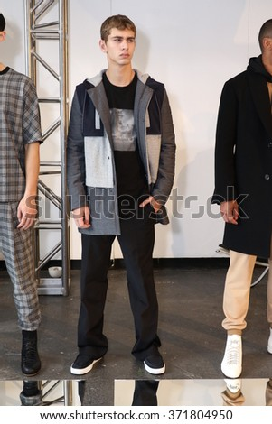 NEW YORK, NY - FEBRUARY 01: Models pose during the Garciavelez - Presentation - New York Fashion Week Men's Fall/Winter 2016 at Industria Superstudio on February 1, 2016 in New York City.