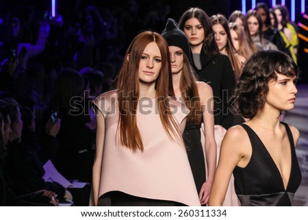 NEW YORK, NY - FEBRUARY 16: Models walk at the Milly By Michelle Smith Show during MBFW Fall 2015 at ArtBeam on February 16, 2015 in NYC.
