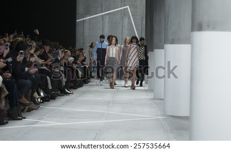 New York, NY - February 14, 2015: Models walk runway for Lacoste collection by Oliveira Baptista during Fall 2015 Fashion Week at Lincoln Center - stock photo