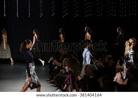 NEW YORK, NY - FEBRUARY 12: Models walk the runway at Milly fashion show during Fall 2016 New York Fashion Week on February 12, 2016 in New York City.