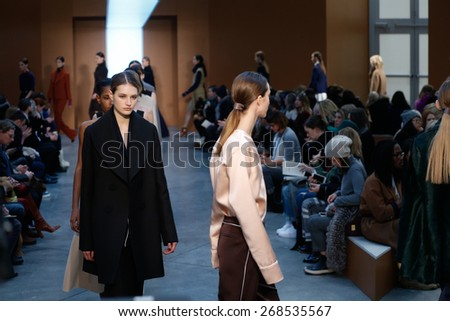 NEW YORK, NY - FEBRUARY 15: Models walk the runway at the Derek Lam Fashion Show during MBFW Fall 2015 at Pace Gallery on February 15, 2015 in NYC
