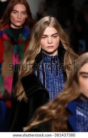 NEW YORK, NY - FEBRUARY 13: Models walk the runway at the LIE SANGBONG Fall-Winter 2016 Collection Show on February 13, 2016 in NYC.