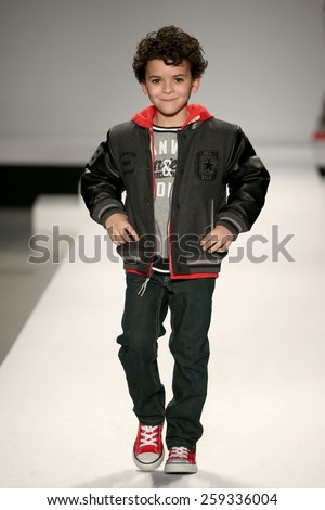 NEW YORK, NY - FEBRUARY 12: Models walk the runway at the Nike Levi's Kids fashion show during Mercedes-Benz Fashion Week Fall 2015 at Lincoln Center on February 12, 2015 in NYC  - stock photo