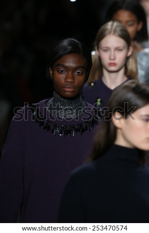 NEW YORK, NY - FEBRUARY 14: Models walk the runway finale at Noon by Noor fashion show during Mercedes-Benz Fashion Week Fall 2015 at Lincoln Center on February 14, 2015 in New York City - stock photo