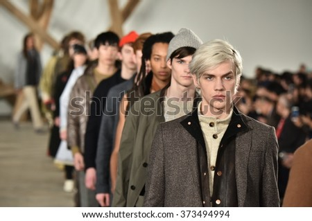 NEW YORK, NY - FEBRUARY 03: Models walk the runway finale at the Billy Reid fashion show during New York Fashion Week Men's Fall/Winter 2016 on February 3, 2016 in NYC. - stock photo