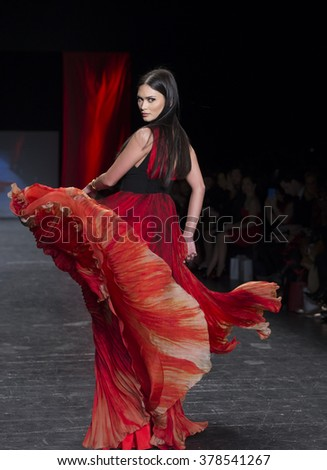 NEW YORK, NY - FEBRUARY 11, 2016: Pia Alonzo Wurtzbach wearing dress by Carmen Marc Valvo walks runway for the Heart Truth Red Dress Collection 2016 fashion show at Moynihan Station