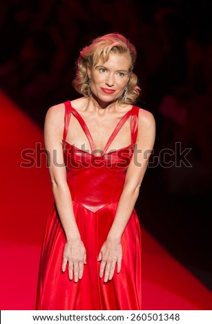 New York, NY - February 12, 2015: Tracy Anderson in Ina Soltani dress walks runway for the Heart Truth Red Dress Collection 2015 fashion show as part of Fall 2015 Mercedez-Benz Fashion Week - stock photo