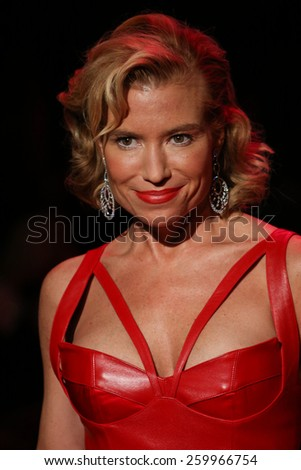 NEW YORK, NY - FEBRUARY 12: Tracy Anderson walks the runway at the Go Red For Women Red Dress Collection 2015 fashion show during MBFW Fall 2015 at Lincoln Center on February 12, 2015 in NYC - stock photo