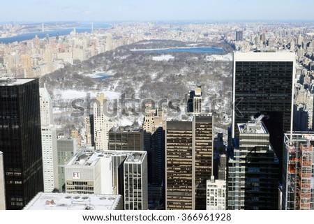 NEW YORK, NY-JAN 03 :Central Park from Rockefellr center Heavy snow at  New York, Manhattan, January 03, 2014  - stock photo