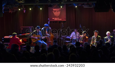 New York, NY - January 10, 2015: Butler, Bernstein and The Hot 9 perform at Le Poisson Rouge as part of Winter Jazz Festival in Manhattan