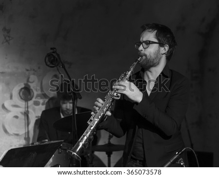NEW YORK, NY - JANUARY 16, 2016: Emile Parisien quartet performs as part of New York City Winter Jazz Festival at DJango at Roxy Hotel