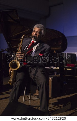 New York, NY - January 08, 2015: George Coleman plays as part of George Coleman quintetat Jazz Legends for Disability Pride concert at Quaker Friends Meeting House in Manhattan