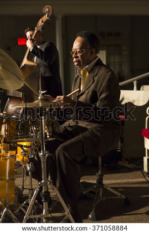 New York, NY - January 14, 2016: Louis Hayes plays drums at charity concert Jazz Legends for Disability Pride during Winter Jazz festival at Quaker Friends Meeting Hall