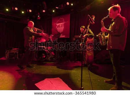 NEW YORK, NY - JANUARY 15, 2016: Sexmob at 20 quartet performs as part of New York City Winter Jazz Festival at Le Poisson Rouge - stock photo