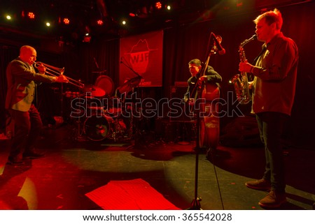 NEW YORK, NY - JANUARY 15, 2016: Sexmob at 20 quartet performs as part of New York City Winter Jazz Festival at Le Poisson Rouge