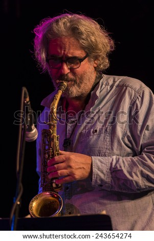 New York, NY - January 09, 2015: Tim Berne plays with quartet Mike Pride's From Bacteria to Boys at The Players Theater as part of Winter Jazz Festival in Manhattan - stock photo