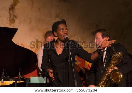 NEW YORK, NY - JANUARY 16, 2016: Veronique Hermann & Xavier Richardeau quartet performs as part of New York City Winter Jazz Festival at DJango at Roxy Hotel - stock photo