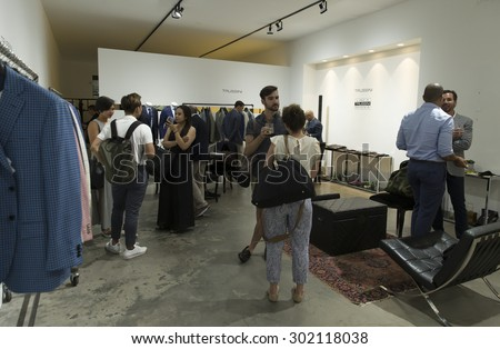 New York, NY - July 20, 2015: Atmosphere during at Strong Suit Made to Measure pop up store opening  in Meatpacking district - stock photo