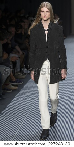 NEW YORK, NY - JULY 13, 2015: Hugo Goldhoorn walks the runway at the John Varvatos S/S 2016 show during the New York Fashion Week: Men's at Skylight Clarkson Sq  - stock photo