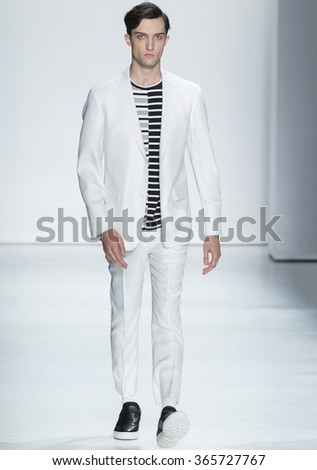 NEW YORK, NY - JULY 14, 2015: Max Von Isser walks the runway during the Ovadia & Sons show at New York Fashion Week Men's S/S 2016 at Skylight Clarkson Sq